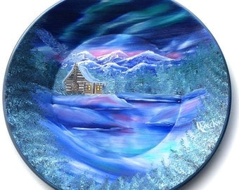 Hand Painted 11 Inch Gold Pans Mountain Winter Cabin Northern Lights