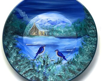 Hand Painted 11 Inch Gold Pans Mountain Cabin Cabin and Blue Birds