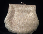 Vintage Carla Marchi Champagne Beaded Shell Clutch w Gold Chain Strap