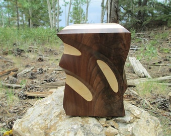 2Tone Walnut& Maple Sculpted Urn By 2woodhunters