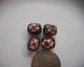 Beads, Cloisonne, Pink, Red, Purple, Barrel Shape, Supply, Floral