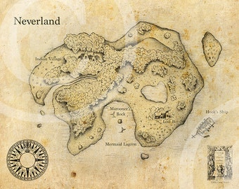 Peter Pan Neverland Map Fine Art Print Poster Nursery (Antique)