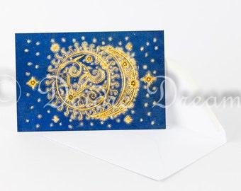 Sun and Moon Card, Greetings Card, Blank Note Card, Holiday Card, Just Because Card, Birthday Card, Christmas Card, Sun Moon and Stars Decor