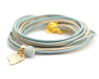 Aquamarine Bracelet, Metallic Blue Wrap Bracelet, Golden Blue Bracelet, Minimalist Jewelry, gift for her boho chic