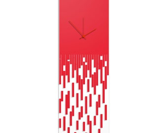 Surreal Wall Clock 'Red Pixelated Clock' by Adam Schwoeppe - Techy Style Decor Abstract Accent Piece on Acrylic