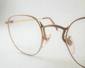 Round Square Eyeglasses, Copper matte Gold Womens Eyeglasses, Vintage, Eyeglasses Frame