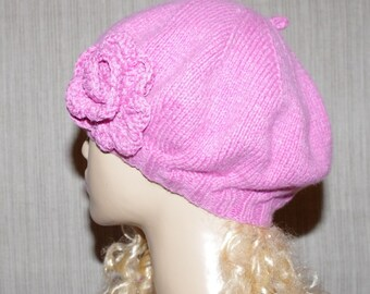 PURE Cashmere Pink Hand Knit Soft Warm Beret with Flower