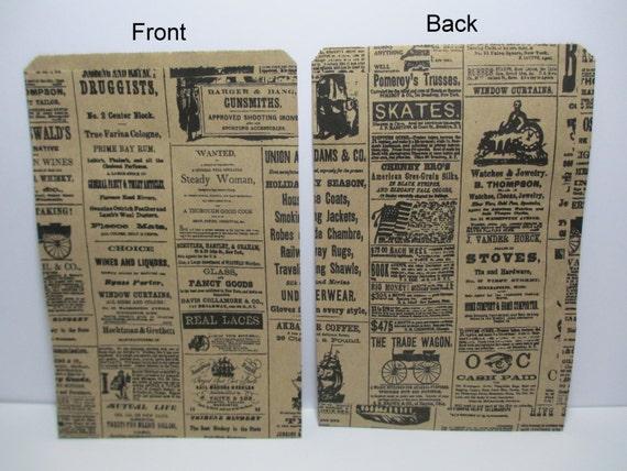 Newsprint Bags, Newsprint Gift Bags, 50 Newsprint Kraft 6x9 Paper Gift Bags, Merchandise Bags, Favor Bags, Weddings, Showers, Treats