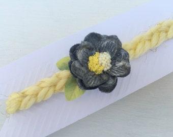 Grey flower tieback~Yellow and grey~Tieback~Headband~Photo prop~Photography prop~Baby girl~Baby~Easter~Spring prop~Newborn~Toddler