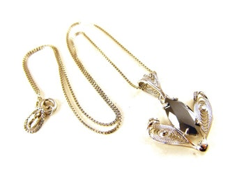 Sorrento Sterling Necklace Silver Cannetille Hematite Pendant Italian Sterling Chain Designer Signed