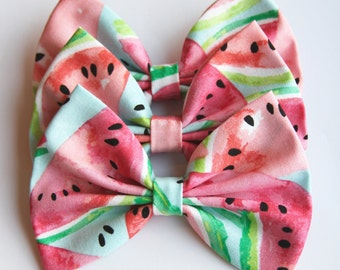SALE - Spring Watermelon Hair Bow - Colorful Watermelon Hair Bow with Clip