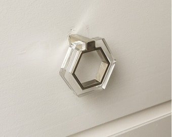 Lucite and Polished Nickel Modern Knob Pull - Lucite Knobs - Drawer Pulls Lucite Pulls Cabinet Knob