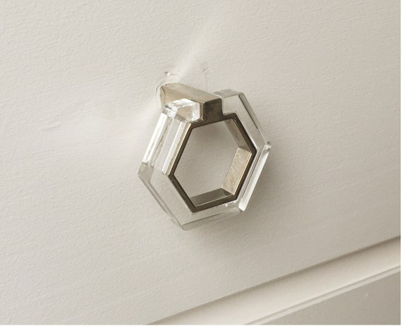 Lucite and chrome modern knob pull lucite knobs drawer for Contemporary knobs and pulls