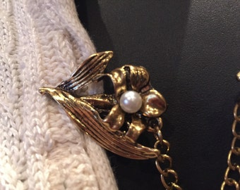 Sweater Clips:  Antique Gold Flower Stem with Pearl Center