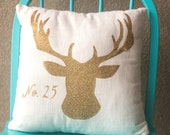 Stag Pillow Cover, Christmas, Reindeer, 16x16 , 18x18 or 20x20