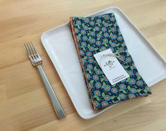 set of 4  reversible cotton napkins, chevron, orange, blue, amy butler, kitchen gift, housewarming, hostess gift