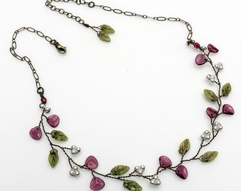 Pink and Green Beaded Necklace,, Vine Necklace, Bridal Jewelry, Nature Jewelry,  N524