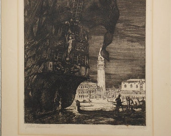 Vintage etching old ship and gondolas in Venice signed 1925