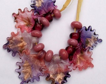 Lampwork Glass Leaves for Jewelry Making, Set of 7 leaf beads + 8 spacers, in Pinks and Violet, Made to Order