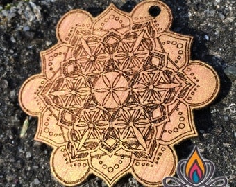 Flower Of Life Mandala, Sacred Geometry, Bamboo Laser Cut Necklace Charm, Golden Metallic, Iridescent Red & Gold Color Morphing Pendant