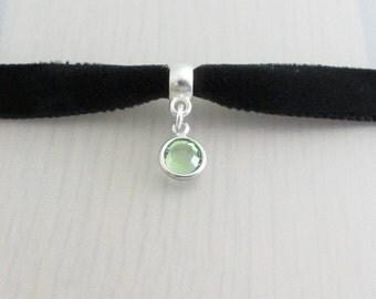 Custom Color Ribbon, Birthstone Crystal Velvet Ribbon Choker Necklace, 9mm Velvet Choker, Swarovski Crystal Charm, Personalised Choker