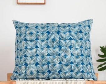 Sample Sale! Cascade Block Print Pillow in Indigo