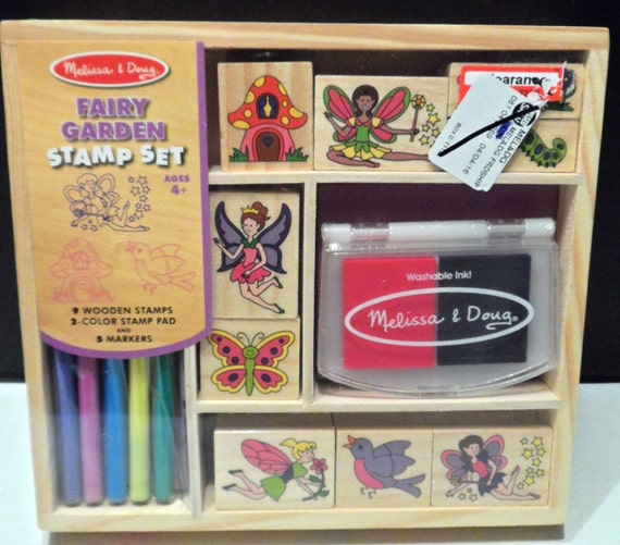 Rubber Stamps Set Fairy Garden Ink Pads Wood Mount Ages 4