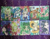 Set of 10 big eye fairy fantasy art POSTCARDS