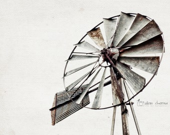 Windmill Wall Art, Photography, Gray Farmhouse Decor, Rustic Home Decor, Farm Windmill Print  | 'Hilde Ranch' AgedPage Series