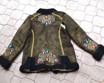 Vintage Embroidered Shearling Afghan Jacket Coat Penny Lane// 70s Shearling Coat Embroidered Sheepskin Fur Jacket Boho