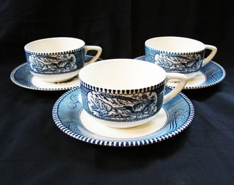 Currier and Ives Cup and Saucer Set 3 Royal China Co Vintage