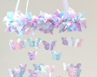 Pink, Lavender, Baby Blue & White Nursery Butterfly Mobile- Nursery Decor, Baby Shower Gift