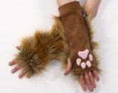 PAWSTAR Realistic Rusty Brown PAW WARMERS Spicy Pepper Fox Furry embroidered paws Gloves warm handmade Black mens womens 3144