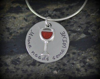 Mama Needs Some Wine! Personalized Runner Necklace - Inspirational Jewelry - Running Jewelry
