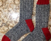 Hand Knit Women's XL or Men's LARGE 100% Wool Heavy Boot, Hiking, Skiing, Snowboarding Socks (B-060)