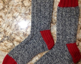 Hand Knit Women's LARGE Mens MEDIUM-LARGE 100% Wool Heavy Boot, Hiking, Skiing, Snowboarding Socks (B-060)