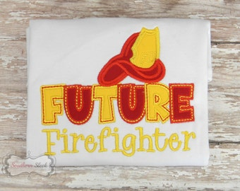 Future Firefighter Embroidered Shirt or Bodysuit in White, Red & Yellow
