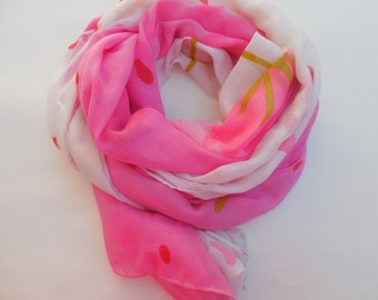 Pink, multicolor soft scarf.