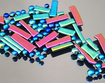 Fused Glass Mosaic Tiles, Bitsy Dichroic Tiles, Mosaic Supply, Pink, Green, Blue & Gold Tiles