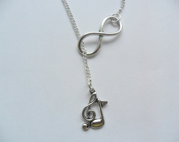 Infinity Symbol treble clef music note charm lariat necklace