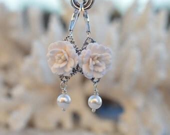 White Cherry Blossom, White Sakura Earrings, White Bridal Earrings, White wedding Jewelry