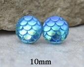10mm, Dragon Scale Studs, Aqua Aurore Boreale, Resin Earrings, Aqua Resin Earrings, Handmade Studs, Rostone, Rostone