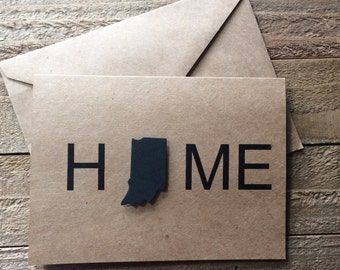 State Home Note Card, Kraft Colored Note Cards, Home Card, State Cards, We have Moved, Greeting Card, Home State Stationery Set