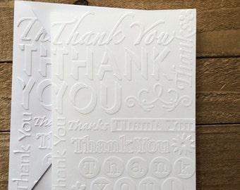 Thank You White Embossed Note Cards, Wedding Thank You, Baby Shower Thank You, Christmas Thank You Cards, Bridal Shower Thank You Cards