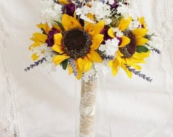 Sunflower Bouquet, Purple Mini Roses and Lavender Rustic Sunflower Bouquet,  Rustic Wedding Bouquet - Brides Bouquet
