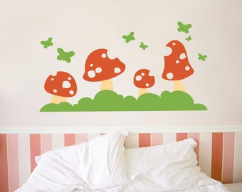 Butterfly Toadstool Wall Decal - Vinyl Wall Decal, Butterfly Decal, Cartoon Decal, Nature Decal, Toadstool Forest, Removable Wall Sticker