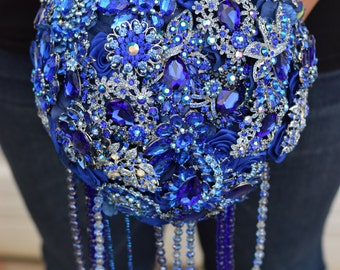 Custom Order Cascading Brooch Bouquets with Satin flowers