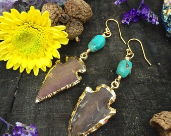 Ooak Agate Arrowhead & turquouse  - Gold filled earrings - dainty - delicate