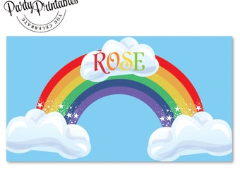 Rainbow Party Dessert Banner | Rainbow  Party Banner Printable | Rainbow Party | Party Printables