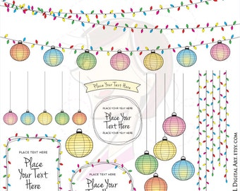 Lantern String Lights Digital Frame Clip Art Colorful Lanterns Outdoor Lighting Graphics Garden Party Lights Clipart Commercial Use 10710